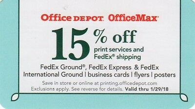OFFICE DEPOT/MAX In-Store or Online  -  15% OFF - HURRY!! - Exp 1/29/18