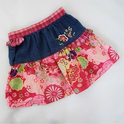 Oilily Red and Denim Skirt Size 98 EUR / 3-4 US