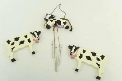 Cow Wind Chime & 2 Cow Wall Plaques USA Decorative Farm Dairy Hanging