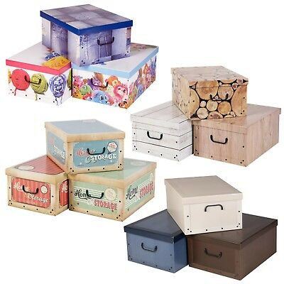 3 Large Collapsible Cardboard Storage Boxes Elegant Lightweight Lids & Handle