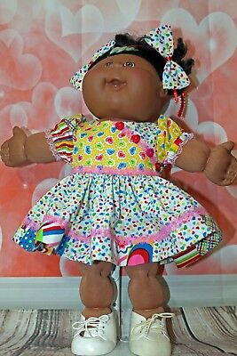 """Cabbage Patch Doll Cloths- Valentine Dress -panties- 2 hair bows- fits 16"""""""