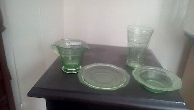 Four Pieces Green Patrician Depression Glass
