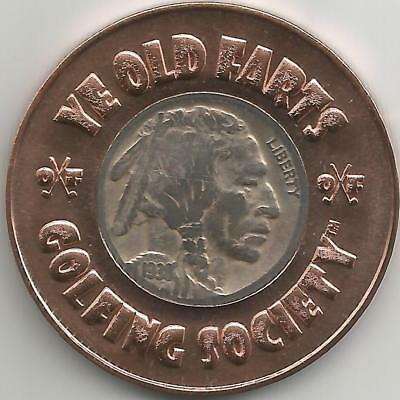 Ye Old Farts Golfing Society Copper Ball marker w/ a Nickel from YOUR birth year
