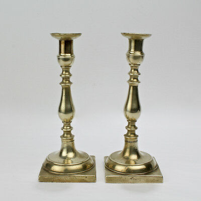 Pair of Early 19th Century Continental Brass Candlesticks - Russian? German? VR