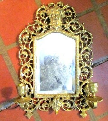 Ornate Victorian Antique Solid Bronze Mirror Candlestick Wall Sconce Bacchus 19c