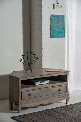 Bourdeilles Corner TV Cabinet Stand Unit Solid Shabby Chic in Mango Free Del!!