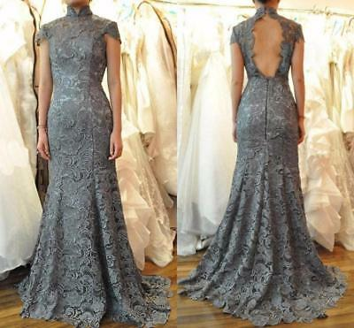 Gray Lace Mother of the Bride Dresses High Neck Backless Mermaid Evening Gowns