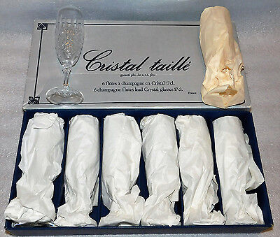 Cristal d'Arques Durand St Cloud Lead Crystal Fluted Champagne Set 91051 Glass
