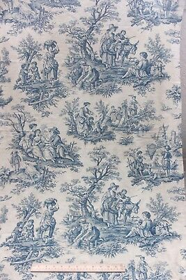 Antique French Blue & White Cotton Country Scenic Toile Home Fabric c1920