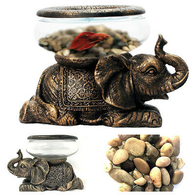 Betta Fish Tank Bowl Aquarium w/ Antiqued Elephant Statue Novelty Small 9Hx7Lx7W