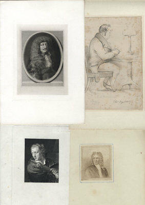 Set of 9 19th Century Etching - Bookplate Portraits