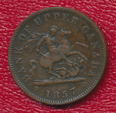 1857 Bank Of Upper Canada One Penny **dragon Slayer** Nice Canadian Coin!