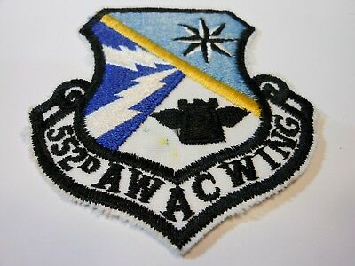 Original US AIR FORCE 552nd AIR CONTROL WING Unit Insignia Patch Tinker Oklahoma