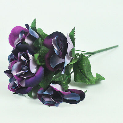 ARTIFICIAL SILK FLOWERS FLOCK ROSE BUNCH PURPLE Wedding Home Grave