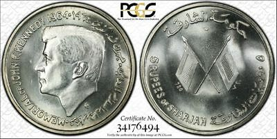 1964 Sharjah 5 Rupees Silver John F. Kennedy Pcgs Ms64 Pop.4 Uae