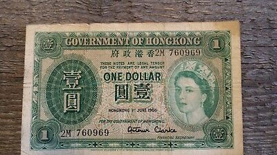 Hong Kong 1 Dollar 1956 Well used! Located in USA!
