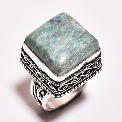Natural Ruby Zoisite Gemstone Vintage Style 925 Sterling Silver Ring 9 US