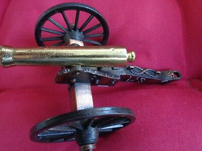 "Vintage Small Brass & Cast Metal Collectable Military Cannon 4.8"" Long Mint"