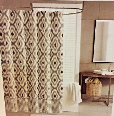 INK IVY Gray Khaki Cotton Printed Shower Curtain 72 X NEW