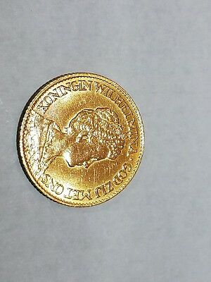 1917 Netherlands 10 Gulden gold coin