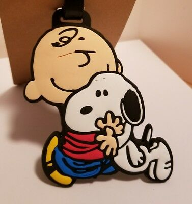 Snoopy Luggage Tag Silicone Holder Travel Cute Gift NEW Peanuts Charlie Brown