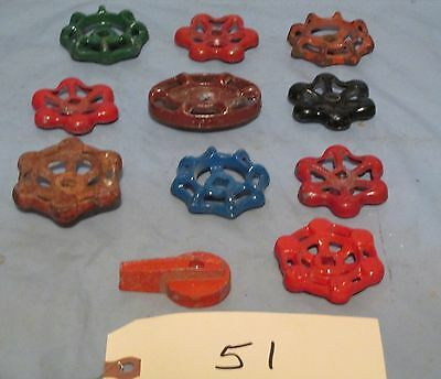 Lot of 11 Vintage Industrial Machine Age Water Valve Handles Steampunk Art used