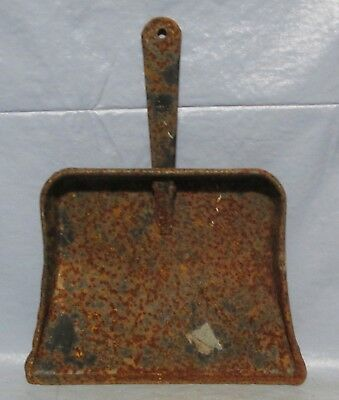 Vintage Pressed Tin  Metal Rusty with Black Paint Dust Pan Cabin Western Decor
