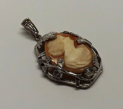 Antique Thick Art Deco Silver-Tone Carved Shell Cameo Flower Pendant Ornate