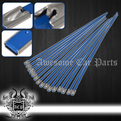 """12"""" 15Pcs Stainless Cable Zip Tie Straps Bl -Lock Heat Header Exhaust Pipe Wrap"""