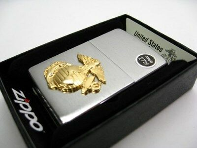 ZIPPO Full Size Brushed Chrome MARINES Emblem Windproof Lighter! 280MAR