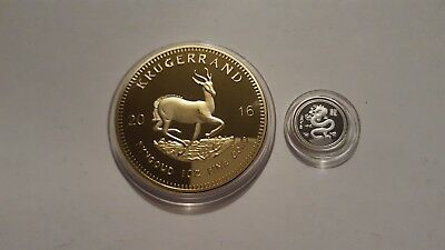 2016 1oz Gold South Africa Krugerrand. EP.and x1 999 silver 1 gram dragon coin.