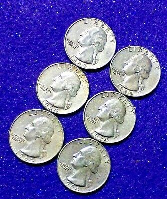 Pairs of TWO (2) 1964-P and D Solid Silver Washington Quarters + BONUS!!!