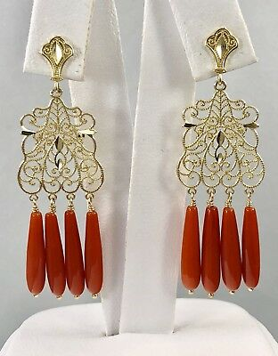 ee5d21a7f Untreated Mediterranean Red Coral Solid 14kt Gold Chandelier Earrings, New