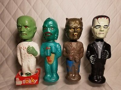 Rare Vintage Soaky Monsters Bath Bottles Collection 1960s