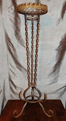 Antique Victorian Art Nouveau Ornate Twist Wrought Iron PLANT or FISHBOWL STAND