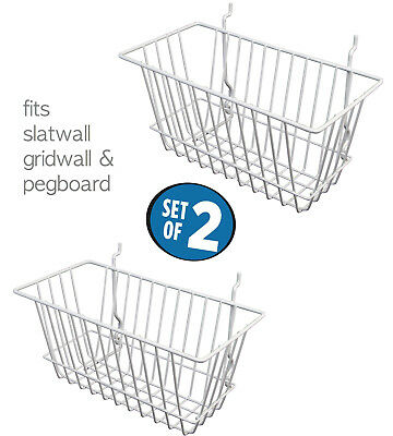 "White Wire Baskets for Slatwall, Gridwall and Pegboard 12"" x 6"" x 6"" (Set of 2)"