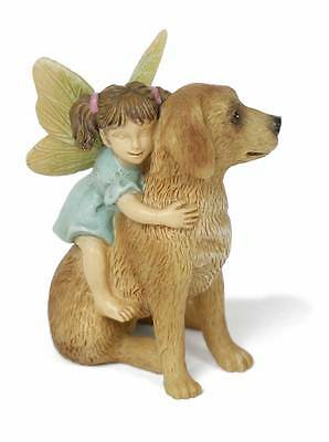 Ready For A Ride Fairy w Dog Lab Golden MG 278 Miniature Fairy Garden