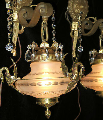 2 SWAN Sconces Vintage Satin Glass Bronze Brass wall lamp lantern crystal SPAIN