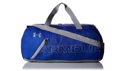 Under Armour Packable Duffel Gym Bag Blue Gray Tote Carry On Storm 1256394