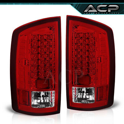 Chrome Housing Red Clear Lens Led Tail Lights Lamps For 02-06 Ram 1500 2500 3500