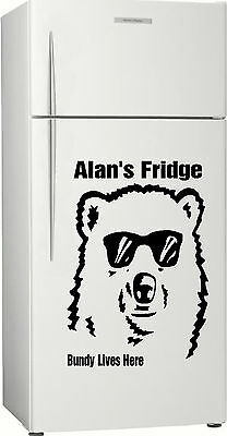 Gift 1, Personalised Bundy Bear Fridge, Bar, Rum Sticker Decal, 585 x 400mm