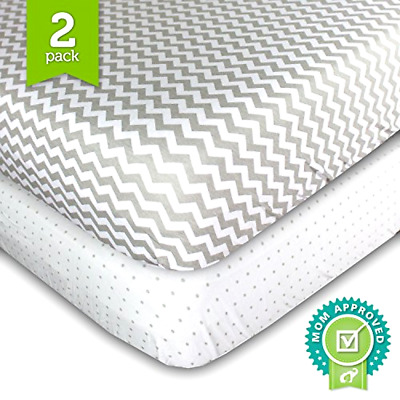 Crib Sheets, Toddler Bedding Fitted Jersey Cotton (2 Pack) Grey Polka Dot, Chev