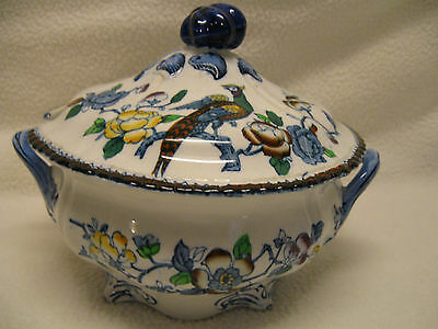 Wood & Sons Mayfair Blue Multi Color Scallop Edge Small Tureen