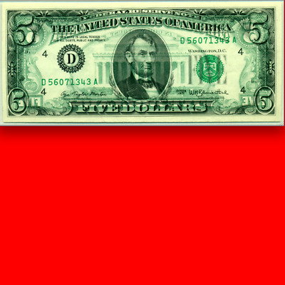 $5 PMG 66 EPQ OFFSET Back to Front 100% SCARCE Five Dollars