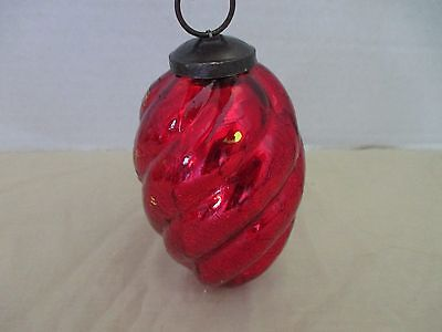 """ANTIQUE~Large Heavy Large Heavy RED crackle GLASS ORN~Brass Top~4.75"""" Long~lot c"""