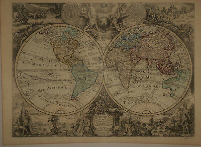 1766 Genuine Antique 5 elegant maps Continents, World in Hemispheres. by Brion