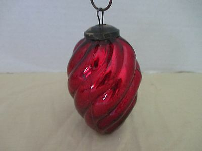 """ANTIQUE~Large Heavy Large Heavy RED crackle GLASS ORN~Brass Top~4.75"""" Long~lot a"""
