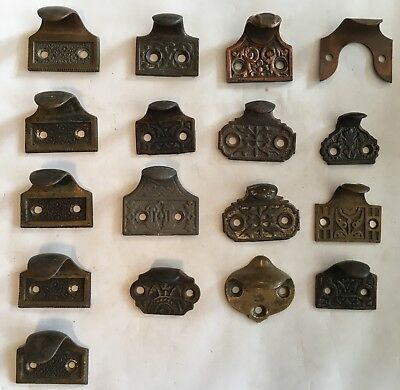 Lot of 17 Victorian Sash/Window Lifts - Brass, Bronze, Cast Iron