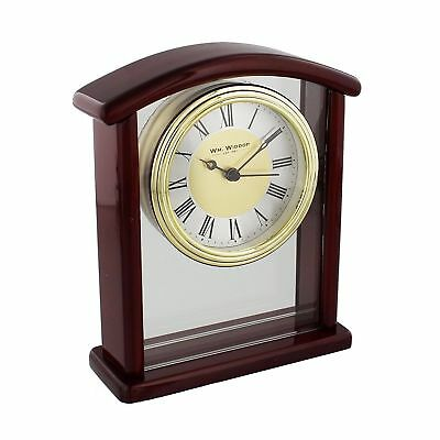 Arched Open wooden Mantel Clock with Roman Gold Bezel
