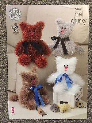 King Cole Tinsel Chunky Knitting Pattern 9049 Cat Toys (2159)